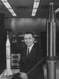 "Physicist James A. Van Allen Sitting Between Models of Jupiter ""C"" Rocket and Explorer Satelliter, Giclee Print"