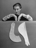 Model Modeling Elbow Length Gloves Premium Photographic Print by Nina Leen