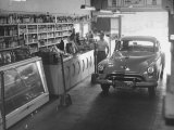 Drive-In Grocery Permits Customers to Motor Through, Stopping at Counter to Buy Purchases in Car Premium Photographic Print by Loomis Dean