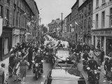President John F. Kennedy's Motorcade Through City with Irish Crowd Premium Photographic Print by John Dominis