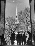 Students on Steps of Widener Library at Harvard University Premium Photographic Print by Alfred Eisenstaedt