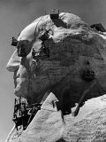 Construction of George Washington Section of Mt. Rushmore Monument Premium Photographic Print by Alfred Eisenstaedt