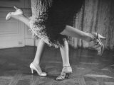 Charleston Dancers in Fringed Skirts Wearing Rhinestone-Trimmed Pumps and Strapped Sandals Premium Photographic Print by Nina Leen