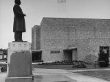 Statue of 19th Century Surgeon William Worrall Mayo Outside Mayo Clinic Auditorium Premium Photographic Print by Alfred Eisenstaedt