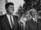 German Konrad Adenauer, with Guest President John F. Kennedy Premium Photographic Print by John Dominis