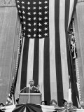 President Harry S. Truman Speaking Against Flag Backdrop During His Re-Election Campaign Photographic Print by Peter Stackpole