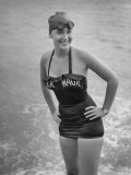 Swimmer Shirley May France, Standing in the Ocean Wearing Her &quot;Black Magic&quot; Swimsuit Photographic Print