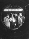 Germaqn Scientist Wernher Von Braun Examining a Jet Engine Premium Photographic Print