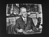 President Harry S. Truman Addressing a Joint Session of Congress, as Shown on a Tv Premium Photographic Print by Allan Grant