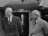 Pres. Dwight D. Eisenhower with Nikita S. Khrushchev Premium Photographic Print by Ed Clark