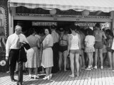 Customers Lined Up at a Hot Dog Stand on the Boardwalk in the Resort and Convention City Premium Photographic Print by Alfred Eisenstaedt