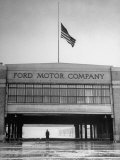 With Flag at Half Staff, the Ford Plant Is Deserted for Henry Ford's Funeral Premium Photographic Print by Ralph Morse