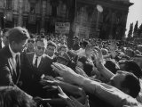 Enthusiastic Crowd Greeting President John F. Kennedy Premium Photographic Print by John Dominis