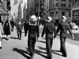 Three Sailors Walking on Fifth Avenue in Midtown Photographic Print by Alfred Eisenstaedt