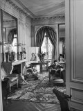 Madam Elsa Schiaparelli Enjoying Her Study Which Is Filled with Treasures and Paintings Premium Photographic Print