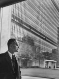 Dr. Ralph Bunche Standing in Front of the Un Building Premium Photographic Print
