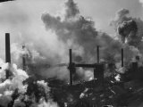 Aerial View of Smoke and Smokestacks at Us Steel Plant Premium Photographic Print by Margaret Bourke-White
