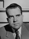 Informal Serious Portrait of Richard M. Nixon Premium Photographic Print