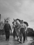 German Prisoner of War Working as Farm Hand for French Farmer Premium Photographic Print