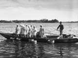 Mikimoto Pearl Divers Throwing Tubs into Water from Boat before Going under to Work Premium Photographic Print by Alfred Eisenstaedt