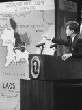 Pres. John F. Kennedy Speaking on Laos During Press Conference Premium Photographic Print