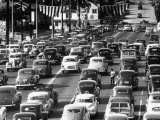 Traffic Traveling on Figueroa and Sunset Street Premium Photographic Print by Loomis Dean