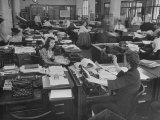 Editiorial Office of the Brooklyn Eagle Newspaper Where Staff Members are Busy in Newsroom Premium Photographic Print by Alfred Eisenstaedt