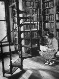 High School Girl Reading at the Newburyport Free Library Photographic Print by Alfred Eisenstaedt