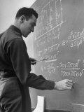 West Point Student Arnold Galiffa Working on a Math Problem Premium Photographic Print