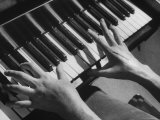 Patient Exercising Hands by Playing the Piano after Surgery Photographic Print