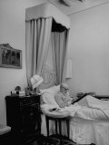 Art Critic Bernard Berenson Writing in Bed at His Villa, I Tatti Premium Photographic Print by Dmitri Kessel