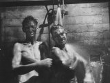 Coal-Blakened Rescue Miners Showering after Mine Disaster Premium Photographic Print by Carl Mydans