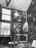 Prime Minister Winston Churchill Painting in His Studio Premium Photographic Print
