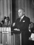 Harry S. Truman Speaking at the Ceremony Premium Photographic Print