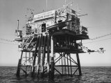 Oceanographic Research Tower Utilizing Electronic Equipment Premium Photographic Print