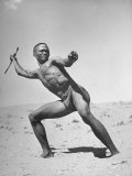Bushman Throwing His Spear at a Winded Gemsbok Premium Photographic Print
