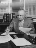 Harry S. Truman Working at His Desk Premium Photographic Print
