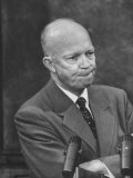 President Dwight D. Eisenhower at Press Conference W. Thoughtfull Expression Premium Photographic Print