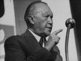 German Konrad Adenauer, During His Pre-Election Speech Premium Photographic Print by Ralph Crane