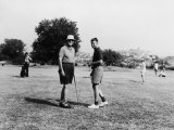 Joseph P. Kennedy Playing Golf W. Son Robert While on Vacation Somewhere on the Riviera Premium Photographic Print
