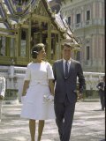 US Attorney General Robert Kennedy with Wife Ethel During Trip to Thailand Premium Photographic Print by John Dominis