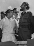 Russian Major Yuri A. Gagarin and Cuban President Fidel Castro, During July 26th Celebrations Premium Photographic Print