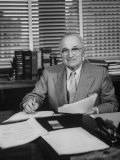 Harry S. Truman Sitting at His Desk Premium Photographic Print