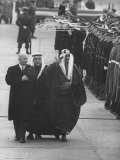 President Dwight D. Eisenhower Walking with King Saud Ibn Abdul Aziz of Saudi Arabia Premium Photographic Print by Ed Clark