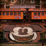 Planted Flowers Forming Design of Mickey Mouse&#39;s Face, with Disneyland Train in Background Photographic Print by Loomis Dean