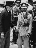Haitian Dictator Francois Duvalier Welcoming Emperor Haile Selassie to Haiti Premium Photographic Print