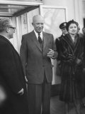 President Dwigth D. Eisenhower Talking with Gaetano Martino and His Wife at the White House Premium Photographic Print