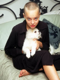 Model Actress Bijou Phillips, with Shaved Head, Holding Pet Dog Premium Photographic Print by Dave Allocca
