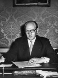 French Leader Guy Mollet Sitting in His Office Premium Photographic Print