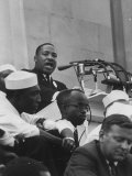 Rev. Martin Luther King Jr. Addressing Crowd During a Civil Rights Rally Premium Photographic Print
